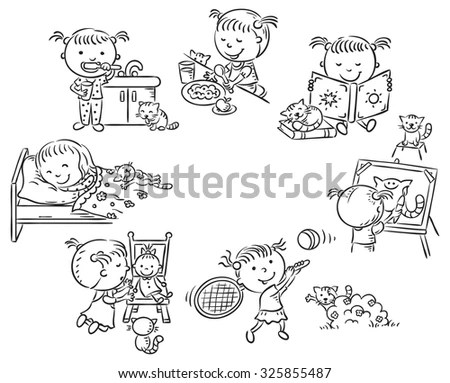Little Girls Daily Activities Such Reading Stock Vector