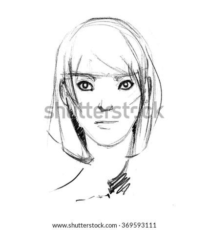 Man Face Sketch Pencil Stock Illustration 369513470