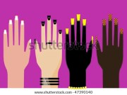 woman nails silhouette stock