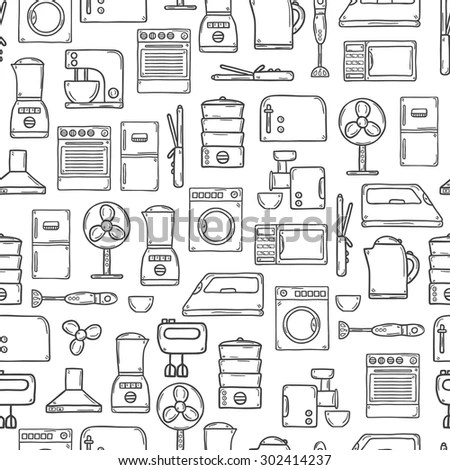 Seamless Background Objects Hand Drawn Cartoon Stock