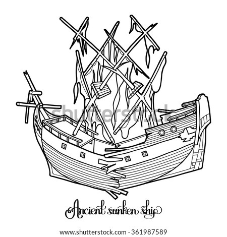 Sunken Pirate Ship Stock Images, Royalty-Free Images