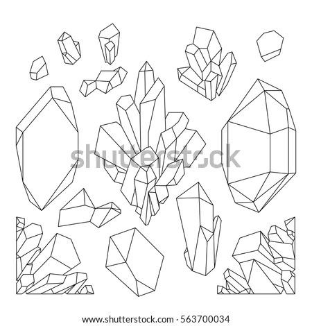 Cute Graphic Crystals Drawn Line Art Stock Vector
