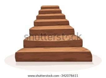 cartoon stairs wood stairway funny wooden castle vector