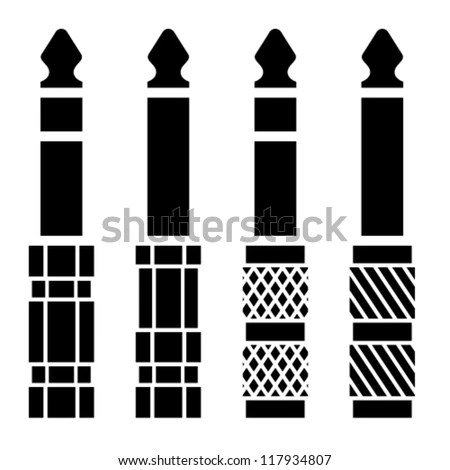 Vector Audio Jack Connector Black Symbols Stock Vector