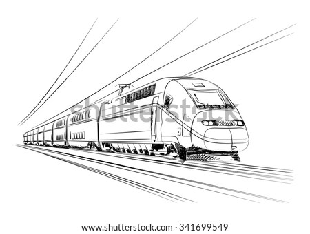 Vector Highspeed Train Motion France Europe Stock Vector
