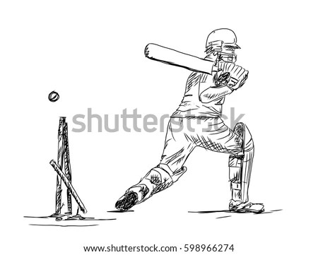 Hand Drawn Sketch Cricket Batsman Vector Stock Vector