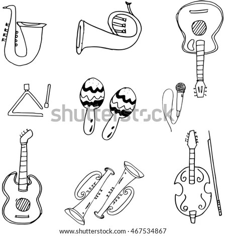 Music Tools Doodle Hand Draw Vector Stock Vector 467534867