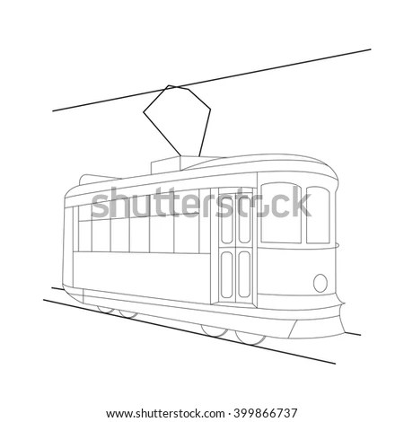 Tram Outline Coloring Vector Illustration Stock Vector