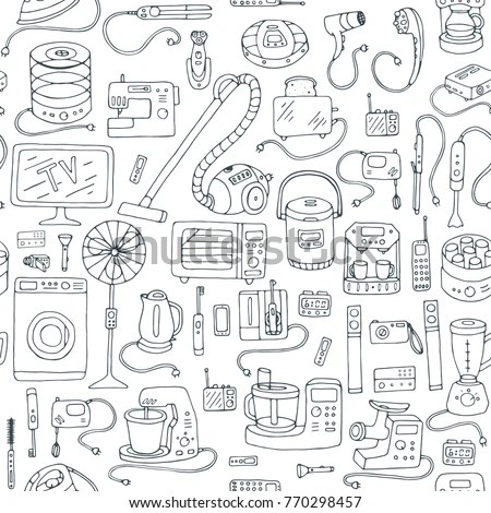 Household Appliances Doodle Hand Drawn Seamless Stock