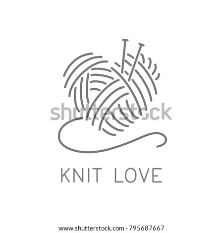 Knit Logo Concept Crochet Yarn Emblem Stock Vector