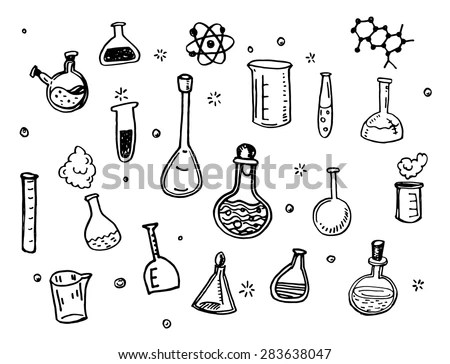 Hand Drawn Chemistry Flasks Doodles Set Stock Vector