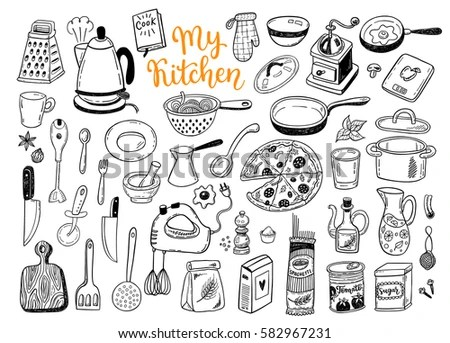Vector Hand Drawn Kitchen Icons Set Stock Vector 141761845