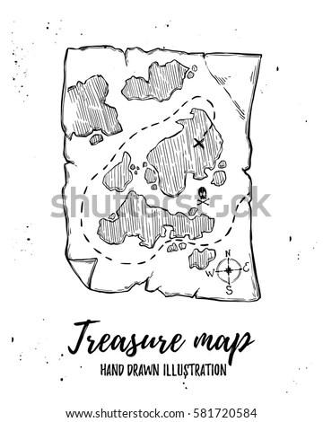 Hand Drawn Vector Illustration Treasure Map Stock Vector