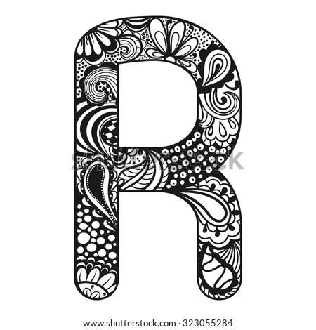 Zentangle Stylized Alphabet Lace Letter R Stock Vector