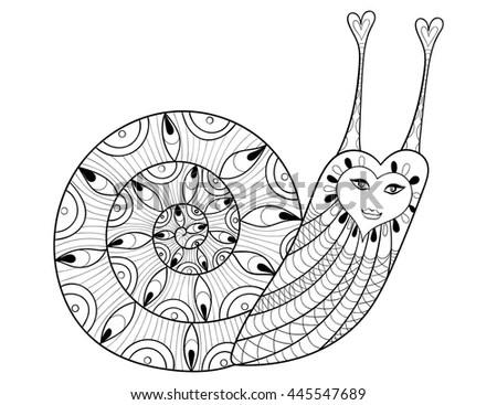 Snail Flowers Vector Hand Drawn Monochrome Stock Vector