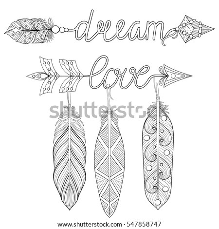 Bohemian Dream Love Arrows Set Feathers Stock Vector
