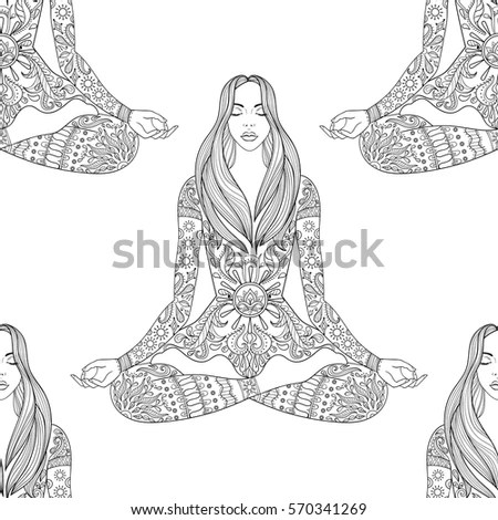 Meditation Yoga Pose Coloring Coloring Pages