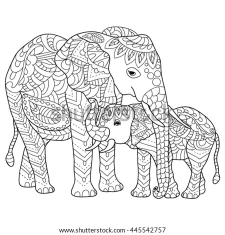 Hand Drawn Elephants Coloring Page Stock Vector 445542757