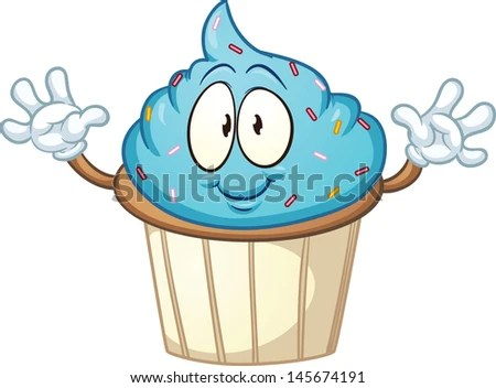 cute cartoon blue cupcake vector
