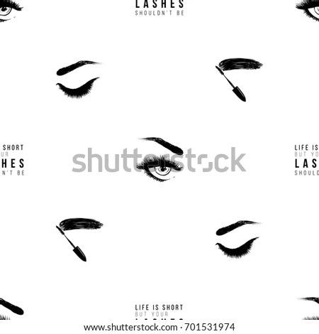 Makeup Artist Background Vector Seamless Pattern Stock
