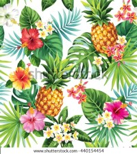 Seamless Tropical Pattern Pineapples Palm Leaves Stock ...