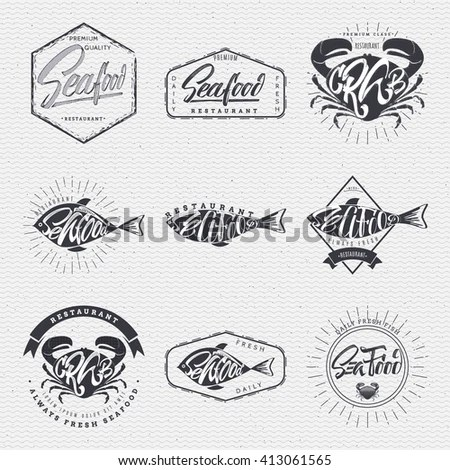 Set Vintage Fishing Emblems Labels Badges Stock Vector