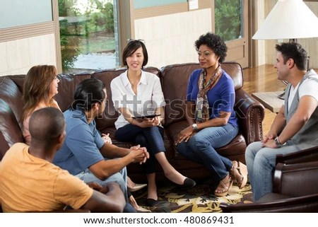 Large Group People Having Counseling Session Stock Photo