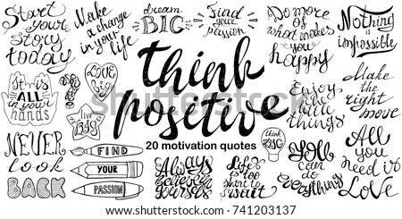 Motivational Quotes Set Hand Drawn Inspirational Stock