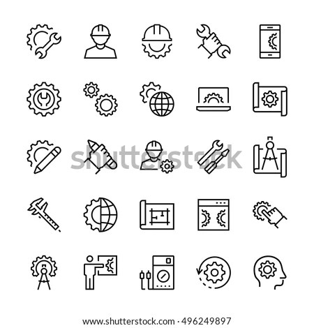 Engineering Manufacturing Icon Set Thin Line Stock Vector
