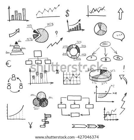 Hand Drawn Business Doodle Set Chart Stock Vektörü