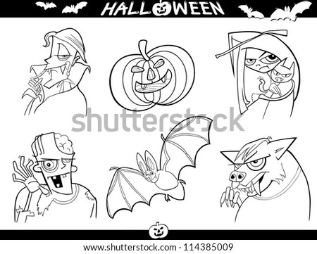 Set Vector Goblins Illustrations Line Drawings Stock