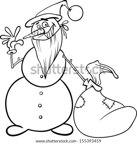 Black White Cartoon Illustration Funny Siberian Stock