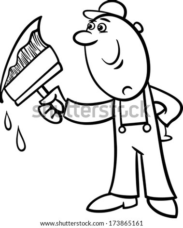 Cartoon Vector Illustration Funny Manual Workers Stock