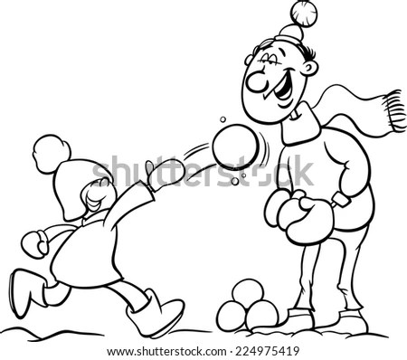Black and White Cartoon Illustration of Father and Little