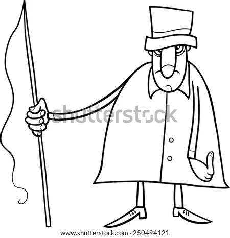 Black and White Cartoon Vector illustration of Coachman or