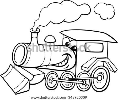 Cartoon Illustration Cute Colorful Steam Engine Stock