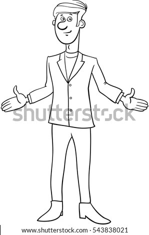 Cartoon Illustration Happy People Big Set Stock