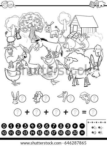 Black White Cartoon Illustration Funny Hen Stock