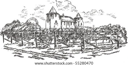 Vineyard Drawing Stock Photos, Images, & Pictures
