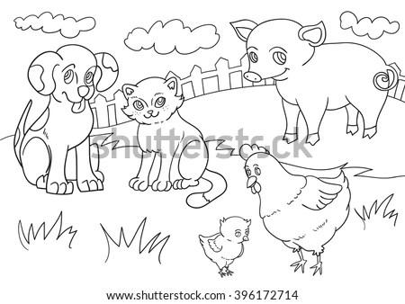 Vector Illustration Set Farm Animals Line Stock Vector