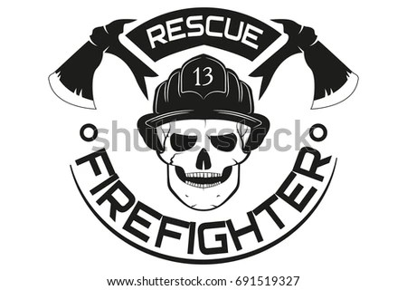 Fire Rescue Emblem Logo Vector Illustration Stock Vector