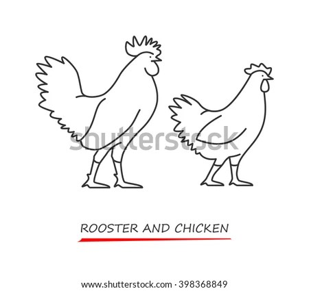 Rooster Outline Stock Photos, Royalty-Free Images