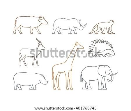 Cow Animal Husbandry Set Vector Elements Stock Vector
