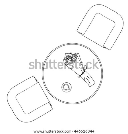 Round Table Top View Cup Coffee Stock Vector 446526844