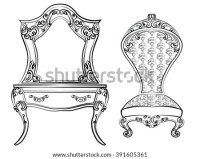 Vintage Classic Style Furniture Set Armchair Stock Vector ...