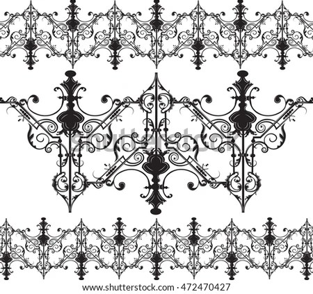 Vintage Gothic Ornament Pattern Elements Vector Stock