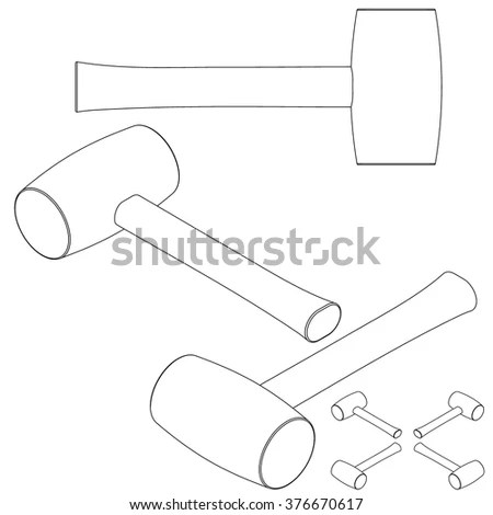 Tool Mallet Line Drawing Isometric Set Stock Vector