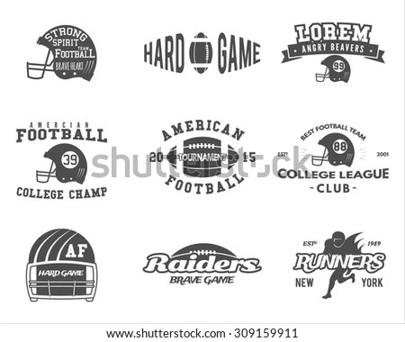 College rugby and american football team, camp badges