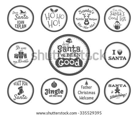 Christmas Badge and Design Elements with funny signs
