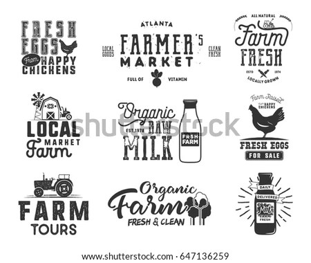 Farmer S Market Organic Food Milk Stock Vector 619751528